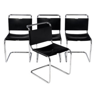 Set of 4 Black Leather Chairs by Marcel Breuer