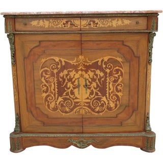 French Antique Marble Top Walnut Console Server For Sale