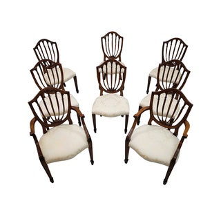 Vintage French Shield Back Dining Chairs - Set of 8 For Sale