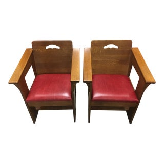 Modern Mission Style Red Leather and Oak Arm Chairs - a Pair For Sale