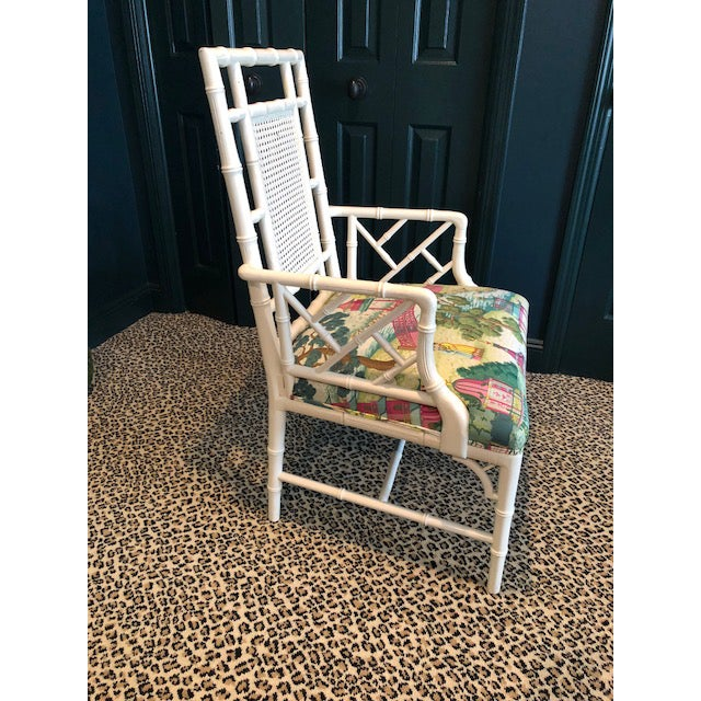 Asian Chinese Chippendale Chair With Manuel Canovas Fabric Seat For Sale - Image 3 of 8