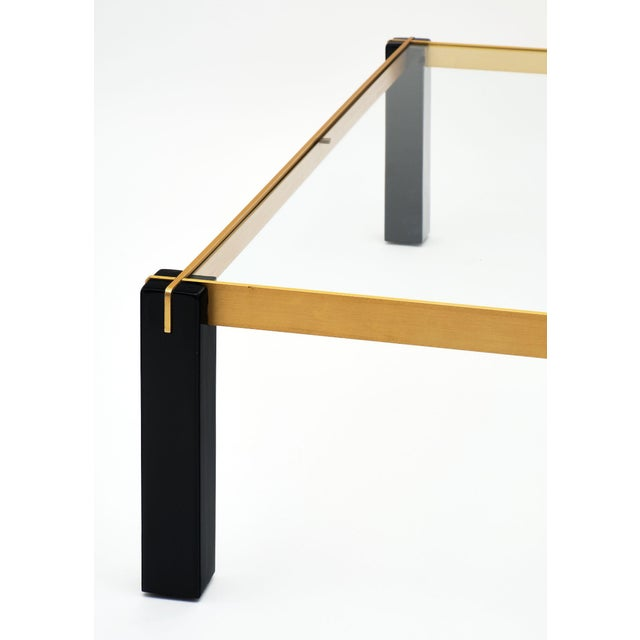 1970s Modernist Brass and Black Coffee Table For Sale - Image 5 of 9