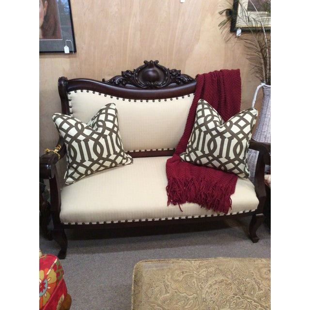 Cotton Brown & Neutral Pillows - A Pair For Sale - Image 7 of 7