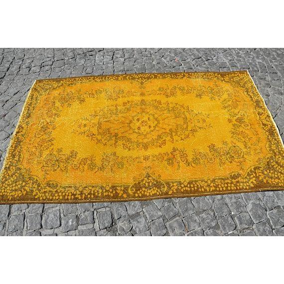 """Yellow Turkish Rug -- 3'11"""" X 6'9"""" - Image 3 of 6"""