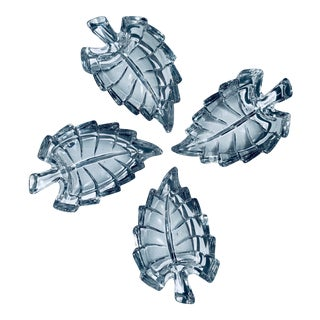 Vintage Italian 'Royal Crystal Rock' Leaf Shaped Lead Crystal Butter Pat Dishes - Set of 4 For Sale