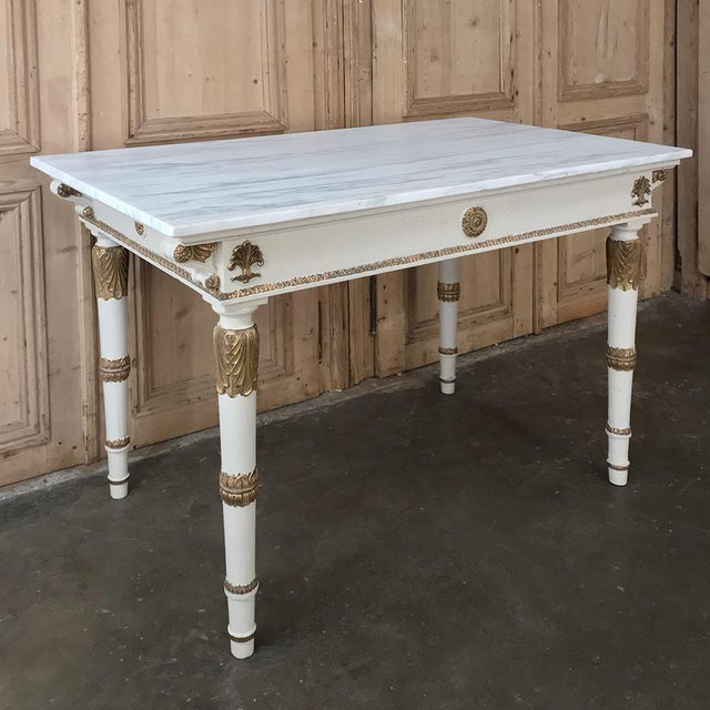 19th Century Italian Neoclassical Painted and Gilded Marble Top Center Table ~ Console is a stunning way to present a...