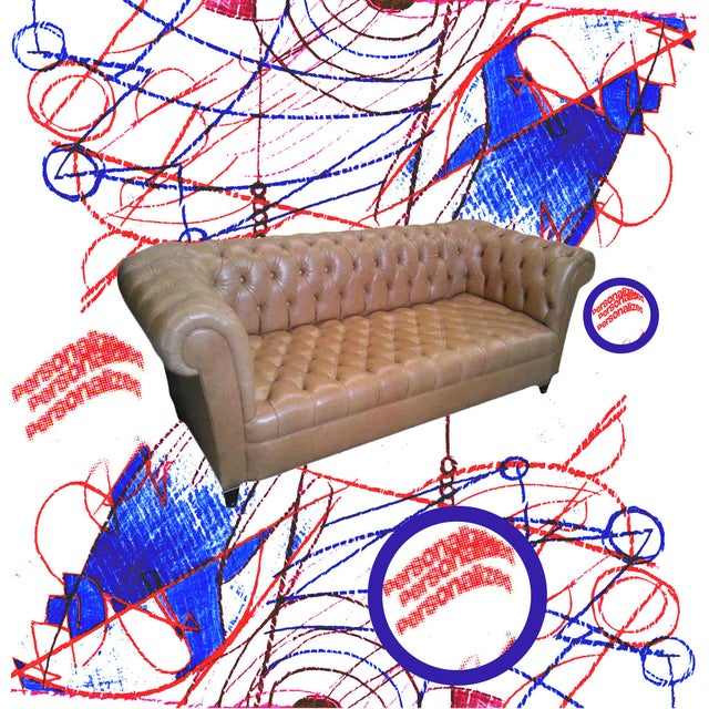 Style - An English Chesterfield Tufted sofa. Hand-Tufting. Upholstered tufted back and seat. Tufted roll outside arm and...