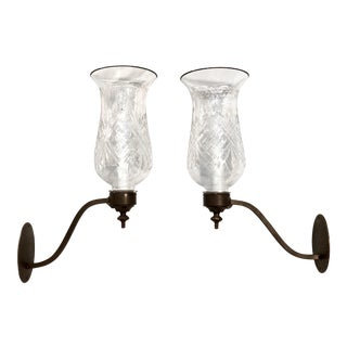 Vintage English Style Hurricane Blown Glass & Brass Sconces - a Pair