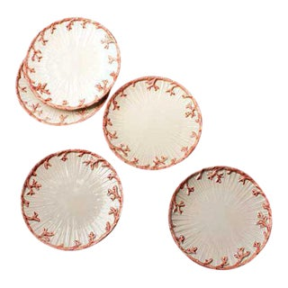 20th Century Boho Chic Mid-Century Modern Coral Motif Side Plates - 5 Pieces