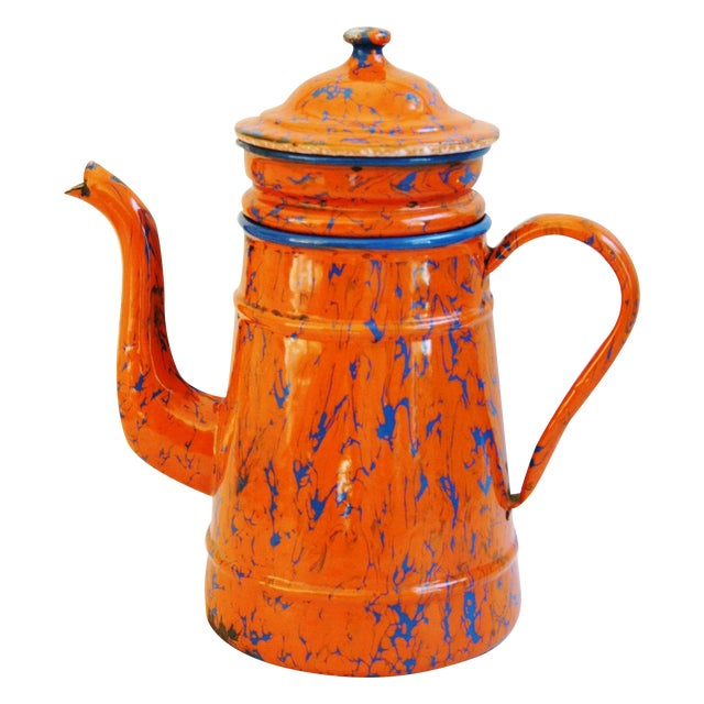 1940s French Marbleized Enameled Coffeepot - Image 1 of 7