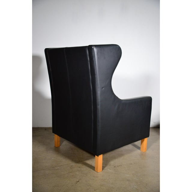 1960s Vintage Danish Borge Mogensen Style Black Leather Chair and Ottoman For Sale - Image 4 of 8