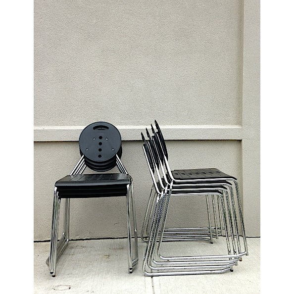 Italian Bimbi Gioacchini Charlie Black Stacking Chair For Sale - Image 3 of 4