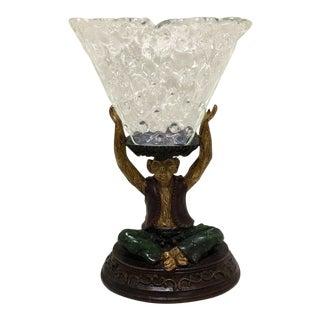1970s Vintage Maitland Smith Ceramic Monkey Centerpiece Glass Bowl For Sale