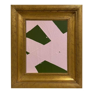 Ron Giusti Mini Abstract Forest Light Pink Acrylic Painting, Framed For Sale
