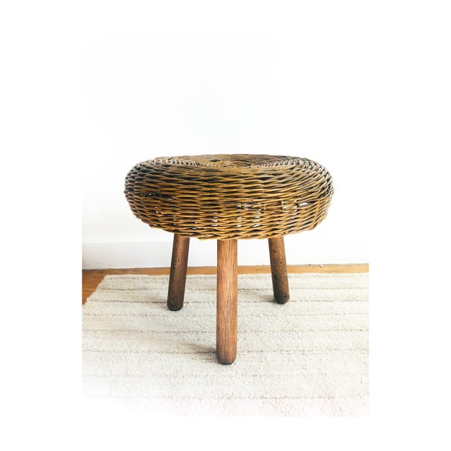 Vintage Tony Paul Wicker Stool For Sale - Image 10 of 10