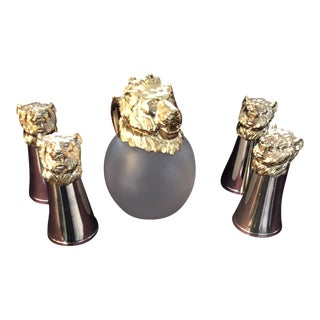 Gold Plated Pitcher and Lion Glasses - Set of 5 For Sale