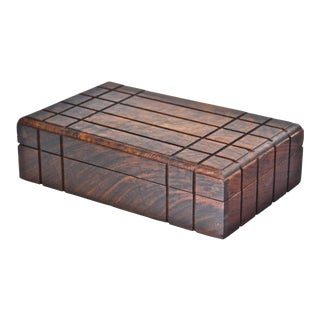 Vintage Wooden Geometric Box For Sale