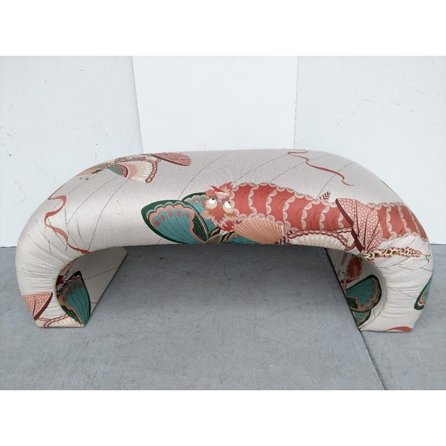 1970's Modern Asian Style Upholstered Bench For Sale In Miami - Image 6 of 12
