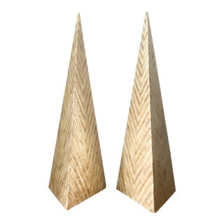 Tessellated Capiz Shell Pyramid Obelisks - A Pair