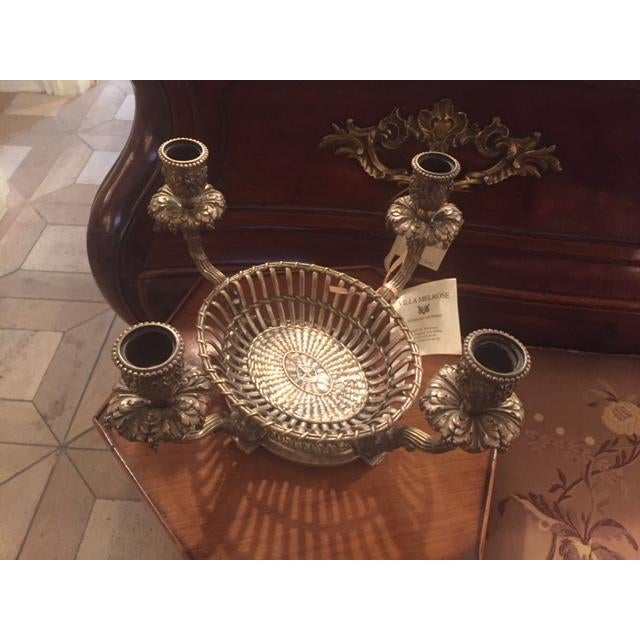 French 1900s Vintage French Silvered Bronze Candle Center Bowl Basket For Sale - Image 3 of 11