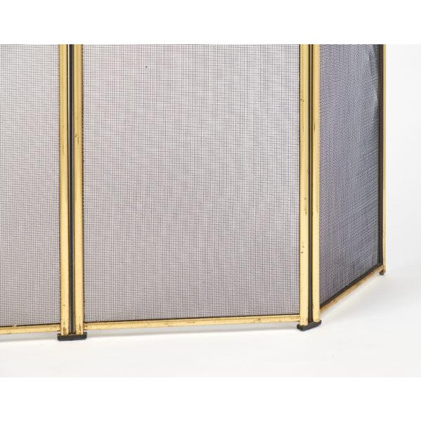 Vintage French Neoclassical Brass Fire Screen For Sale - Image 9 of 10