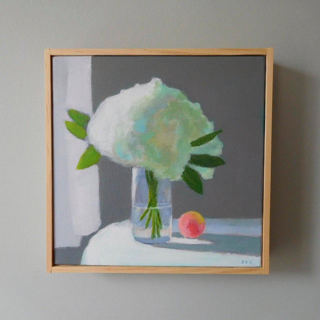 """Anne Carrozza Remick """"White Hydrangea With a Peach"""" Painting by Anne Carrozza Remick For Sale - Image 4 of 6"""
