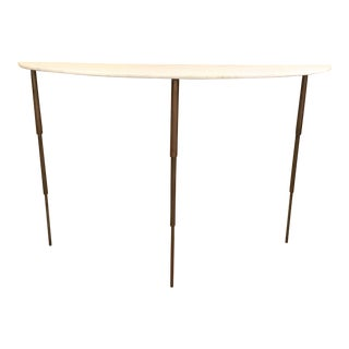 Arteriors Antique Brass and Marble Modern Macy Console Table/Demi-Lune For Sale