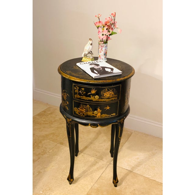 Vintage Chinoiserie Hand Painted and Gilt Pictorial Ebonized Two Drawer Side Table For Sale - Image 12 of 13