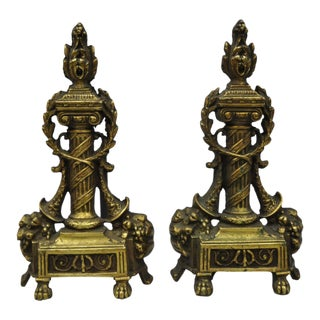 Early 20th Century Antique French Empire Louis XVI Style Andirons - A Pair For Sale