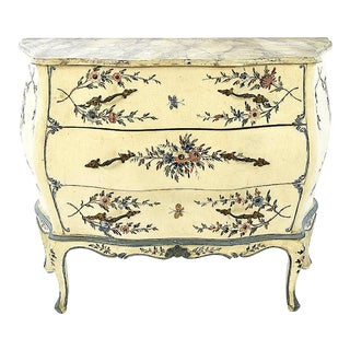 Italian Floral Painted Bombe' Commode For Sale