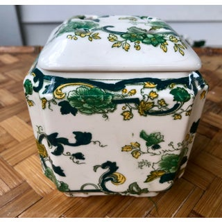 Vintage Floris English Green Floral Transferware Potpourri Jar Preview