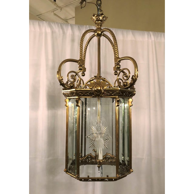 Antique French Bronze Lantern With Etched Beveled Glass, Circa 1890-1900. For Sale - Image 4 of 4