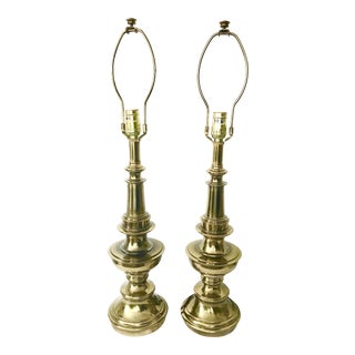 Vintage Stiffel Solid Brass Table Lamps - a Pair For Sale