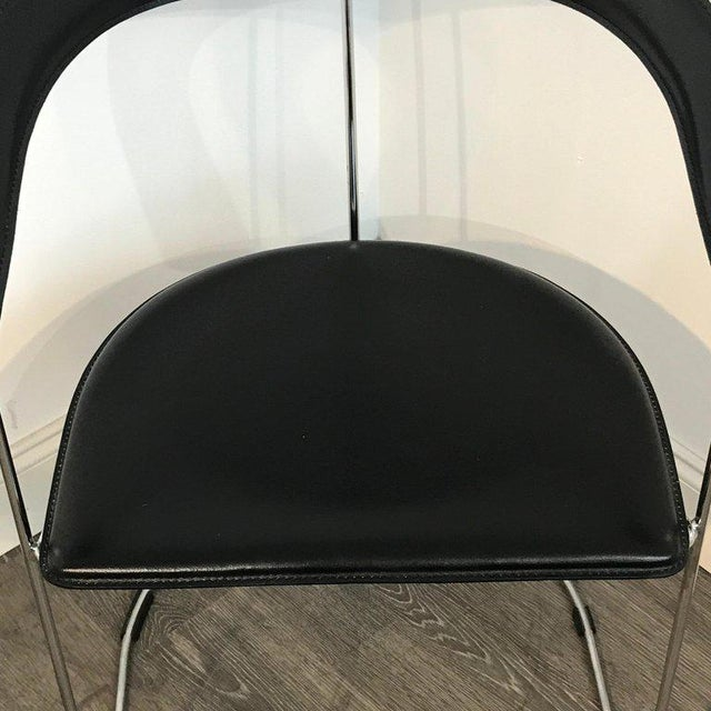 Five Italian Chrome and Black Leather Cantilever Armchairs, Handmade by Frag For Sale In West Palm - Image 6 of 13