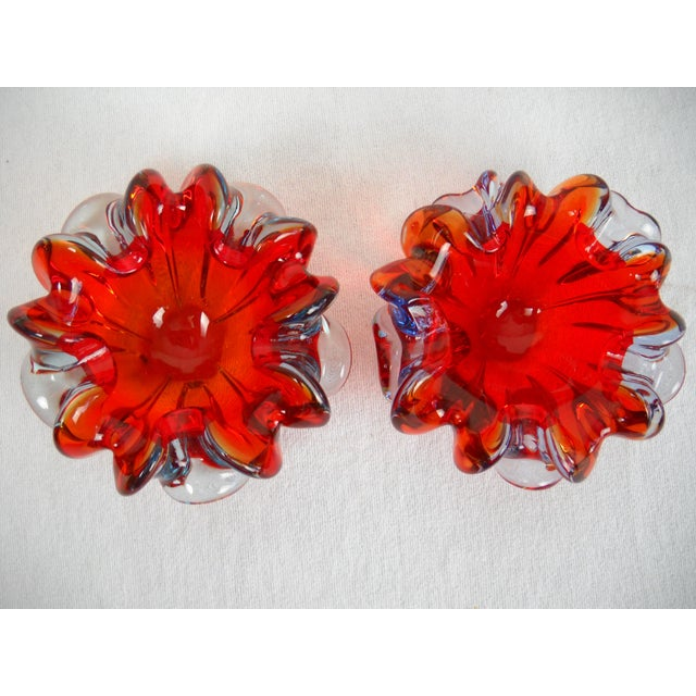 Murano Red Folded-Edge Murano Bowls - A Pair For Sale - Image 4 of 9