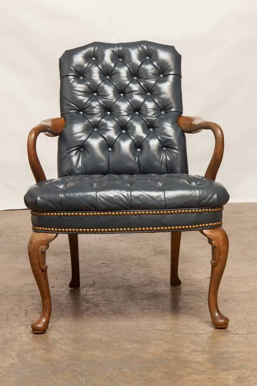 Beau Schafer Brothers Chippendale Style Tufted Leather Library Chair   Image 2  Of 10