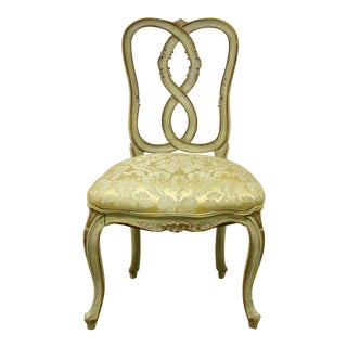 French Brocade Vanity Chair For Sale