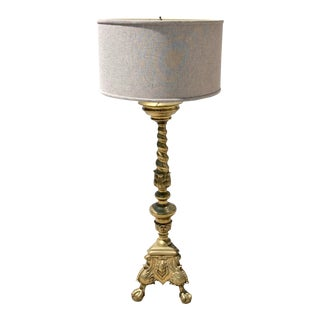 Italian Brass Alter Stick Lamp of Large Scale