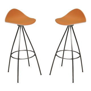 Pair Onda Barstools Orange Rubber & Steel Metal Jesús Gasca Stua Modern Chair B