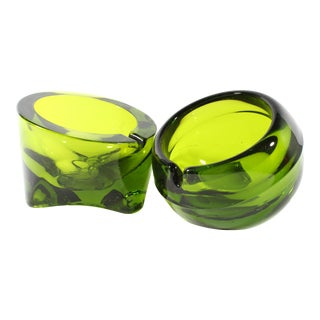 Vintage Mid-Century Viking Glass Green Ashtrays - a Pair For Sale
