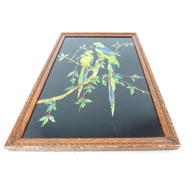 Metal Antique Americana Folk Art Tinsel Painting of Tropical Birds For Sale - Image 7 of 9