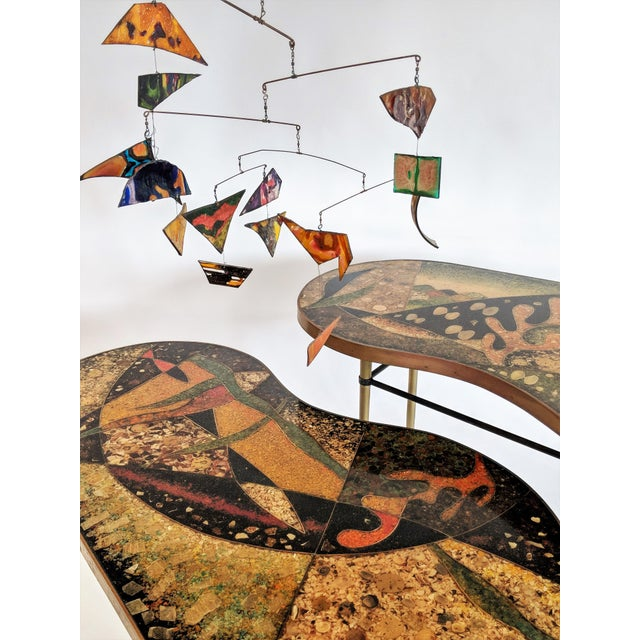 1957 Mid-Century Modern Inlaid Copper, Resin, Shell and Stone Coffee Table For Sale - Image 10 of 13