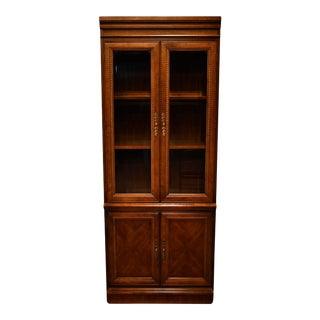 Hooker Walnut Italian Provincial Bookcase Wall Unit For Sale