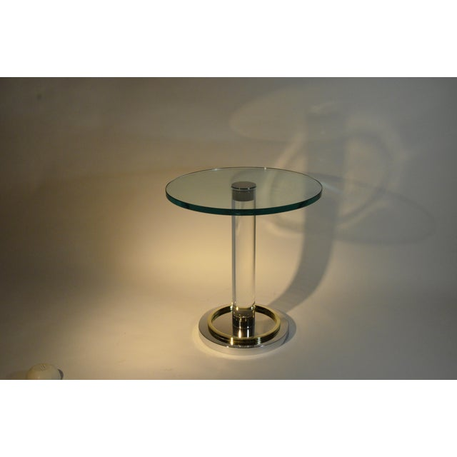 Two Lucite, Brass and Chrome Charles Hollis Jones Occasional Side Tables - Image 6 of 11