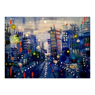 Broadway Original Watercolor Painting For Sale