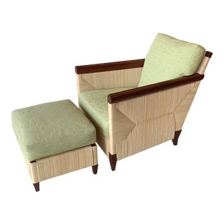 1990s Vintage Donghia Merbau Lounge Chair and Ottoman For Sale