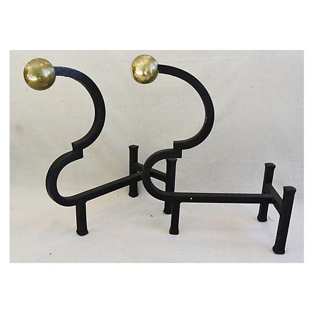 Vintage Monumental Pair Heavy Iron & Brass Fireplace Andirons - Image 5 of 11