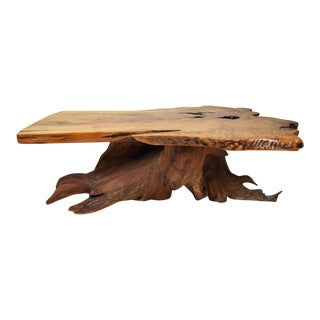 Redwood Burl Coffee Table For Sale