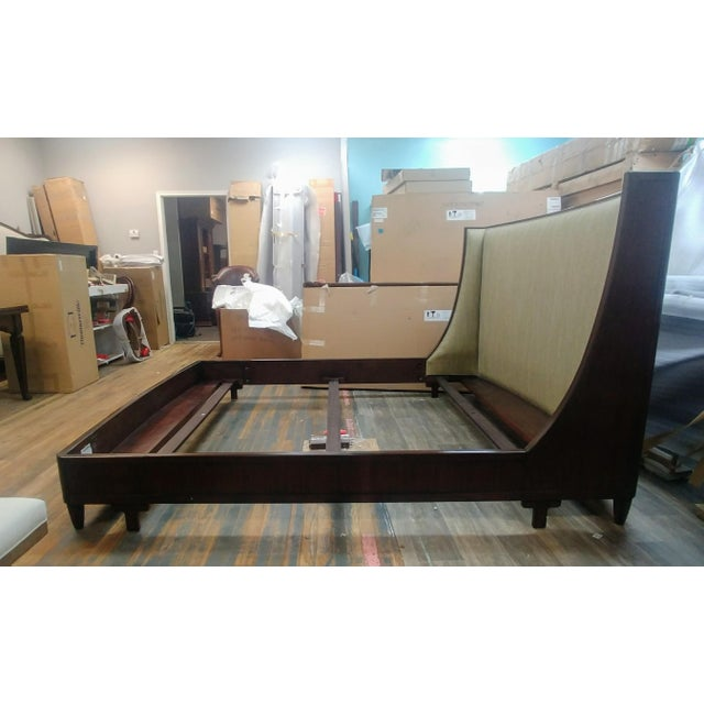 Mid-Century Modern Henredon Furniture Barbara Barry Graceful Walnut Upholstered King Platform/Low Profile Bed For Sale - Image 3 of 13