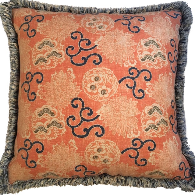 Quadrille Pillows with Samuel & Sons Trim - Pair - Image 2 of 8